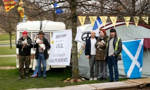 The Indycamp protest outside the Scottish Parliament in Edinburgh, some of whom believe the Scottish Resistance are 'undermining the cause' for independence.
