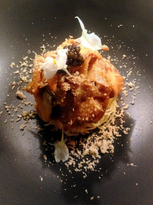 Pine mushroom, fried potato, poached quail egg, caviar, roasted chicken powder.