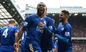 Wes Morgan celebrates his goal against Manchester United. Since 1996, only four clubs have won the Premier League – until now.