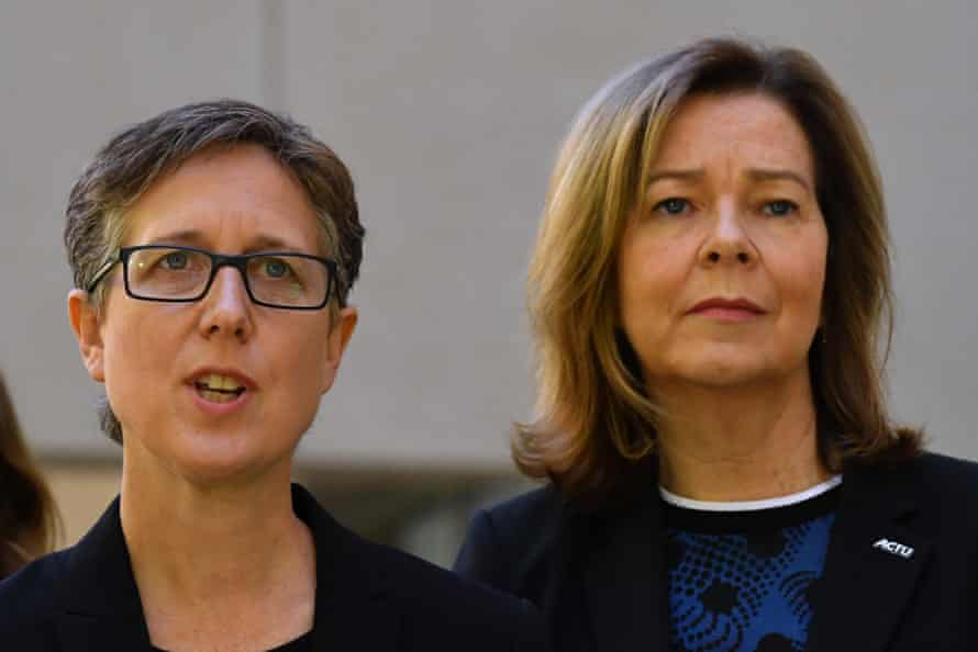 Sally McManus, left, at a press conference on Wednesday