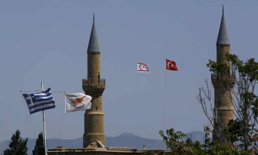 The flags of Greece and Turkey in Cyprus's divided capital, Nicosia