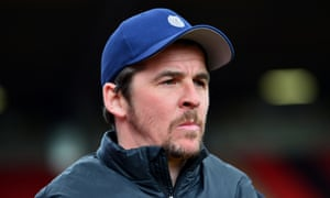 Fleetwood Town manager Joey Barton looks on during the match with Barnsley at Oakwell stadium on 13 April