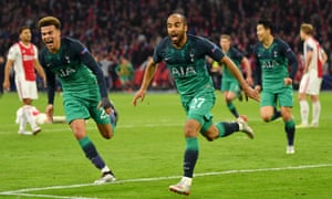 Lucas Moura celebrates after scoring the decisive goal for Spurs.