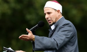 Imam Gamal Fouda leads a prayer at Hagley Park, opposite Al Noor mosque in Christchurch, New Zealand, on Friday.