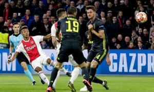 David Neres scores the Ajax equaliser.