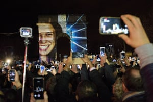 The french authorities cancelled the official fireworks and provided a 5-minute video performance displayed on the Arc de Triomphe as part of New Year's Eve celebrations in Paris