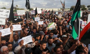 The scene at the Benghazi protest before the deadly shells fell.