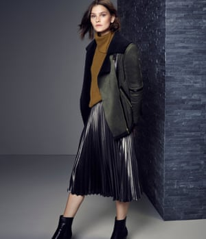 M&S limited edition jacket (£89), collection jumper (£35), skirt (£49.50) and boots (£85).