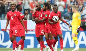 Felipe Baloy (third from left) and his teammates celebrate after Baloy scored Panama's first goal in the tournament against England.