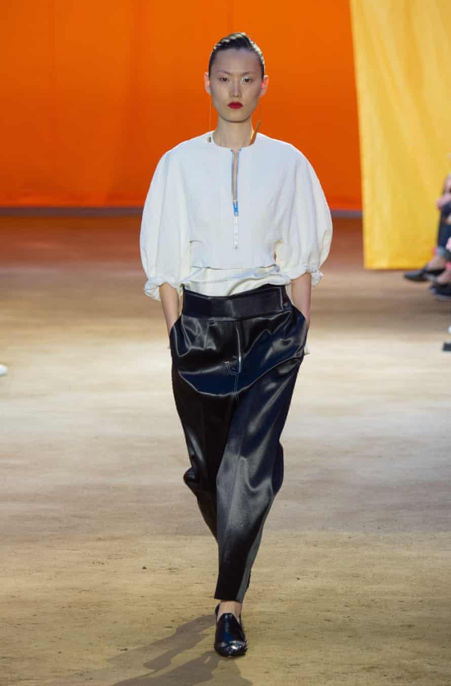 A model on the Céline spring summer 2016 show.
