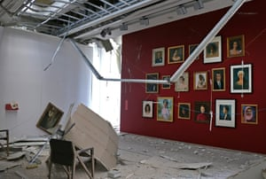 A painting has been knocked off the wall of an art gallery in the museum