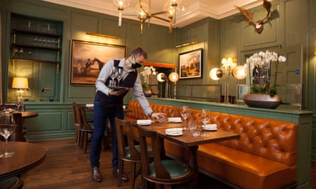 'Panelled walls are painted a deep-sea green and hung with hunting prints': the Elder restaurant is located in the Indigo Hotel, Bath.