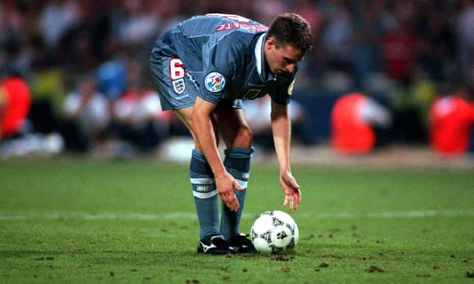 Gareth Southgate prepares to take a penalty in a shootout against Germany in Euro 96.