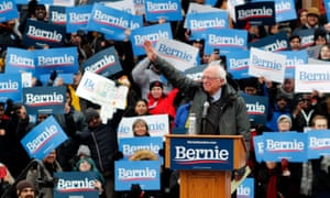 Bernie Sanders during his first presidential campaign rally in Brooklyn, New York on 2 March.