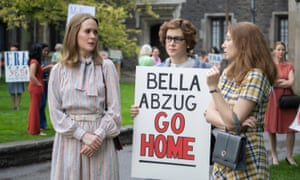 A scene from Mrs America with, from left: Sarah Paulson, Melanie Lynskey, Kayli Carter
