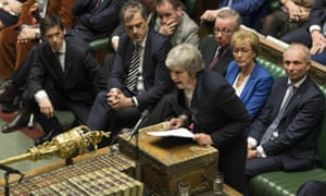 Theresa May addresses parliament after the vote on her Brexit deal.