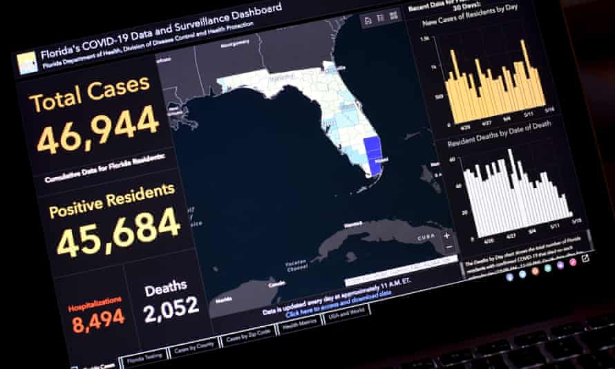 Dr Rebekah Jones's Florida Covid-19 Data and Surveillance Dashboard is seen displayed on a computer screen on 19 May.