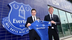 Everton manager Marco Silva (L) and director of football Marcel Brands at USM Finch Farm.