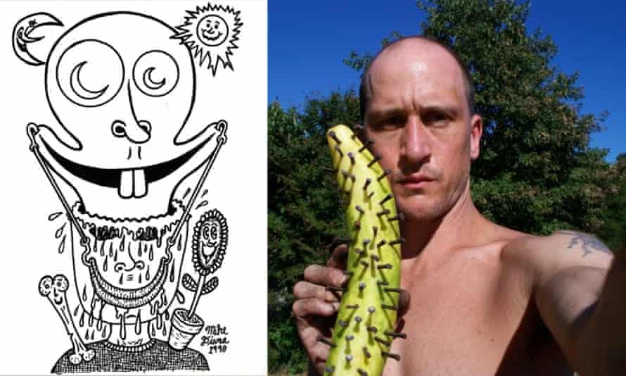 US cartoonist Mike Diana, right, and one of his drawings.