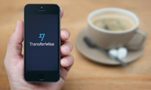 TransferWise logo on moblie phone.