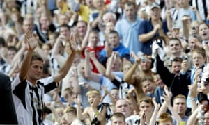 Michael Owen meets the fans at St James' Park after his £16m transfer in August 2005