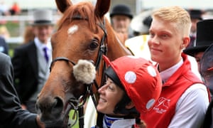 Hayley Turner and Thanks Be after their victory in the Sandringham Stakes at Royal Ascot.