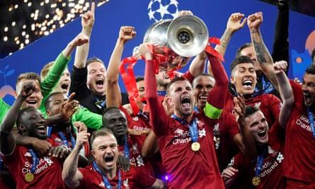 Liverpool celebrate after winning last season's Champions League.