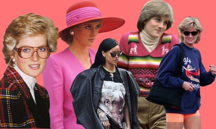 A selection of Diana's greatest fashion its and (centre) Rihanna, sporting the look.