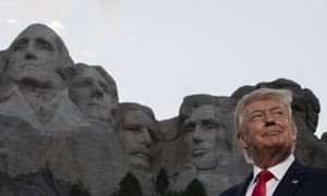 President Donald Trump smiles at Mount Rushmore National Memorial in July