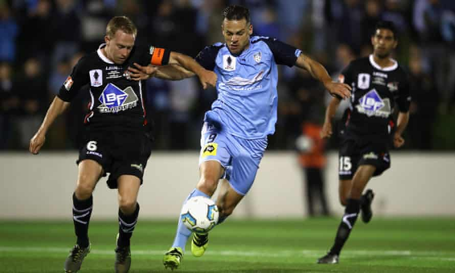Star import, Bobo, in action for Sydney FC during the FFA Cup