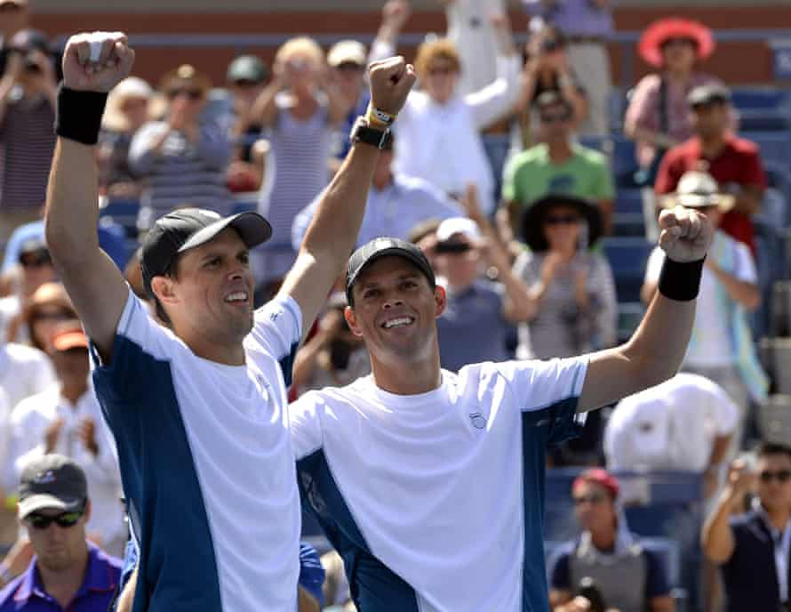 Bob and Mike Bryan enjoy the support of home fans after beating Marcel Granollers and Marc López of Spain in the 2014 US Open final