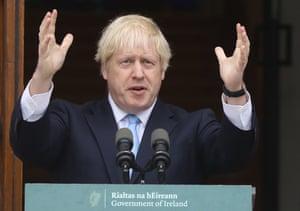 Boris Johnson speaking in Dublin on Monday.