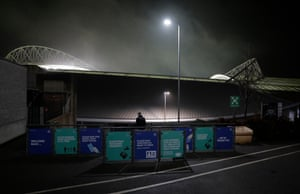 A checkpoint for supporters attending tonight's game in Brighton.