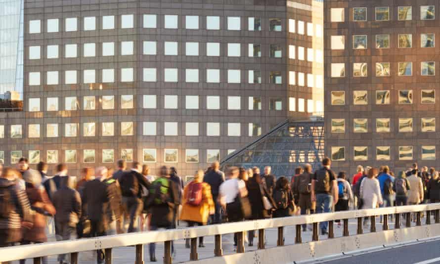 Commuters on London Bridge.