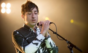 Ed Droste of Grizzly Bear performs on stage during Falls Festival in Lorne, Australia.