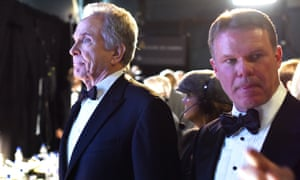 Brian Cullinan, right, with Warren Beatty backstage at the 2017 Oscars.