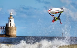 Blyth beach, Northumberland: Ant Burgess practices his freestyle on a jetski