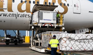 The first Australian shipment of AstraZeneca Covid-19 vaccines is seen after landing at Sydney international airport on Sunday.