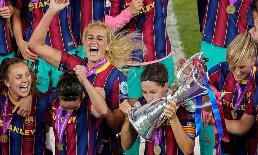 Barcelona celebrate after winning last season's Champions League's final against Chelsea.
