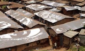 JR's installation of the rooftops of the slum Kibera in Kenya.