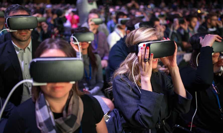 Samsung's Mobile World Congress event had plenty of Gear VR headsets.