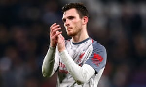Andy Robertson applauds the Liverpool fans after his team's draw at West Ham on Monday.