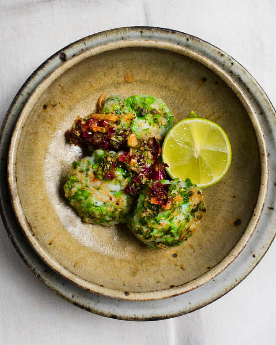 Big flavours: pea and prawn cakes.
