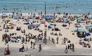 Crowds on the beach in Bournemouth