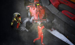 Charles Leclerc abandons his Ferrari after crashing during qualifying for the Azerbaijan Grand Prix during April in what has been an error-strewn season for the team.