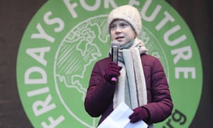 Greta Thunberg speaks to participants of Fridays for Future demonstration in Hamburg in February.