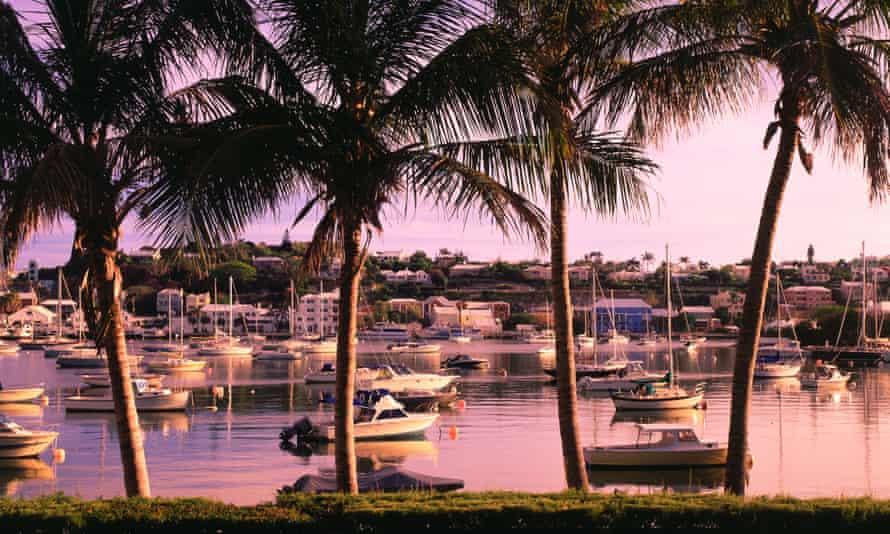 Boats moored in Hamilton harbor in Bermuda