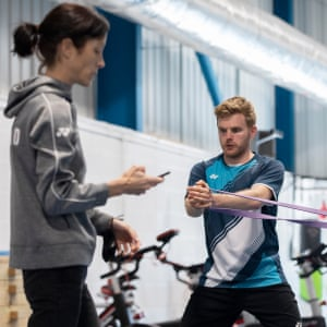 Marcus Ellis, with Chris Langridge, during a circuit training session at the National Badminton Centre in June 2021.