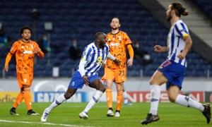 Moussa Marega celebrates after doubling Porto's lead.