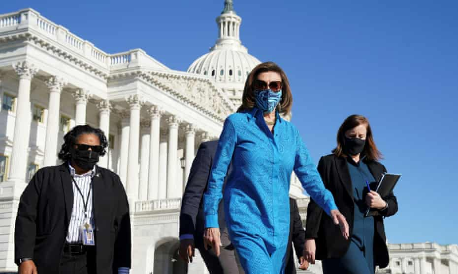 Nancy Pelosi arrives for a news conference on Friday.
